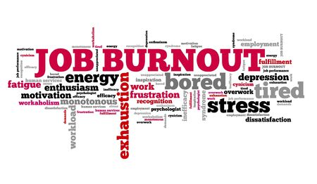 dissatisfaction: Job burnout - career tiredness and depression. Employment word cloud.