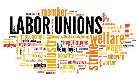 Die Gewerkschaften - Industrie Wohlfahrtsorganisationen. Beschäftigung Wort-Wolke.
