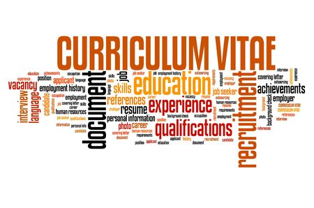 Curriculum vitae (CV) concept. Employment word cloud. Stock Photo