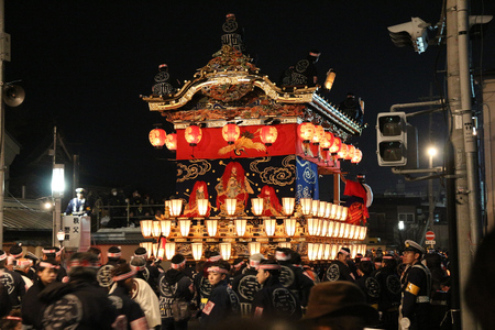 intangible: CHICHIBU, JAPAN - DECEMBER 3, 2016: Ornate floats are pulled at Chichibu Night Festival in Japan. Chichibu Yomatsuri festival was added to UNESCO Intangible Cultural Heritage list in 2016. Editorial