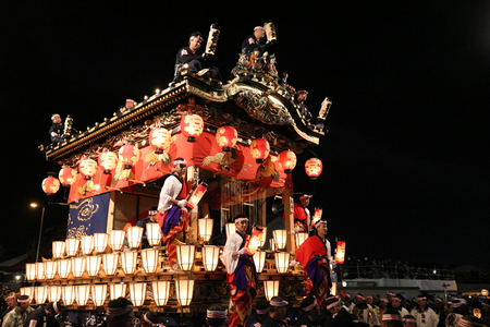 CHICHIBU, JAPAN - DECEMBER 3, 2016: Ornate floats are pulled at Chichibu Night Festival in Japan. Chichibu Yomatsuri festival was added to UNESCO Intangible Cultural Heritage list in 2016. Editorial