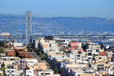telegraph hill: San Francisco city view with Bay Bridge.