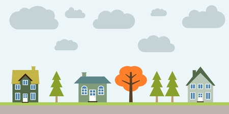 Small town life - cute village vector illustration. Residential suburb.