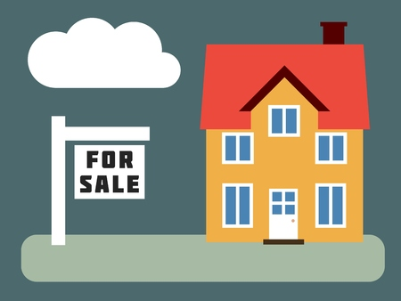 house for sale: Home for sale - simple vector real estate illustration. Illustration