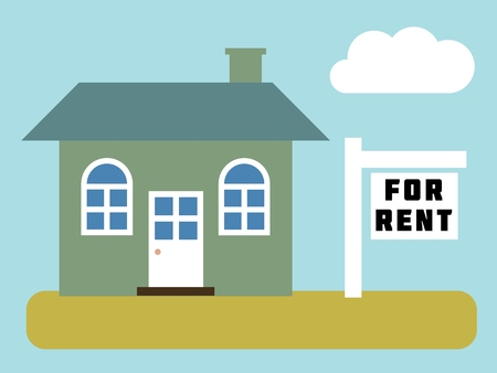 front yard: Home for rent - simple vector real estate illustration.