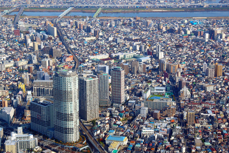 sumida ward: Tokyo cityscape - aerial city view with Sumida ward. Mukojima and Kyojima neighborhoods.