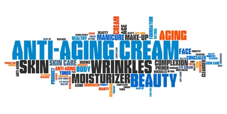 Anti-aging cream - wrinkle skin care. Tag cloud concept.