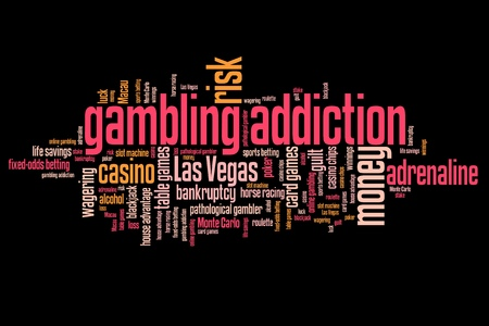 artistic addiction: Gambling addiction concepts word cloud illustration. Word collage concept. Stock Photo