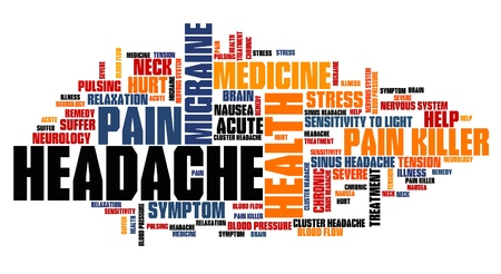 keyword: Head ache - health concepts word cloud illustration. Word collage concept.