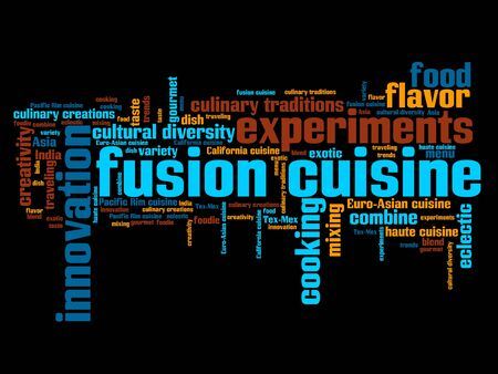 Fusion cuisine - contemporary cooking concepts word cloud illustration. Word collage concept.