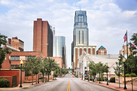Kansas City, Missouri - city in the United States. Downtown skyline. Imagens