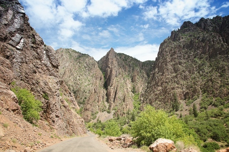 Road in Black Canyon of the Gunnison National Park in USA. Colorado nature. Stock Photo