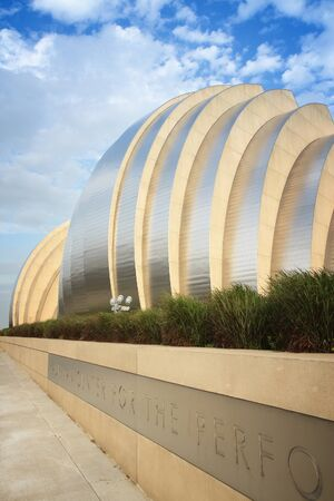 expressionism: KANSAS CITY, USA - JUNE 25, 2013: Kauffman Center for the Performing Arts building in Kansas City, Missouri. Famous building was completed in 2011 and is an example of Structural Expressionism.