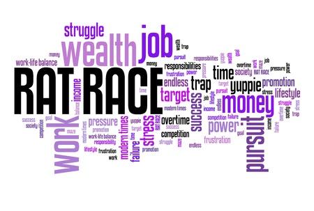 Rat race - career and promotion pursuit. Employment word cloud.