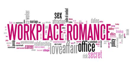 Workplace romance - company employee dating and love. Office regulations word cloud.