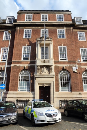 precinct station: BIRMINGHAM, UK - APRIL 19, 2013: Police station in Birmingham, UK. 126,818 police officers worked in the 43 British police forces in 2015.