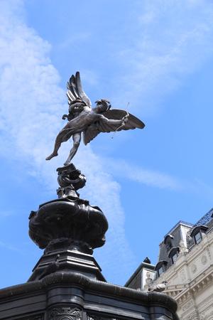 London, UK - Eros statue at Piccadilly Circus.
