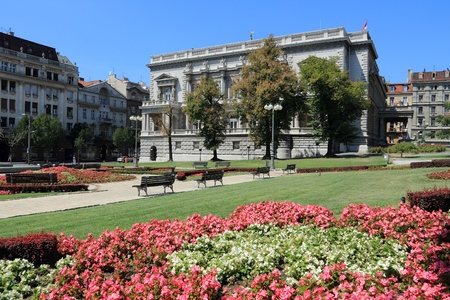 Belgrade, Serbia - famous Old Palace and flower gardens in the city. Currently local government headquarters - City Assembly.