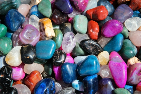 onyx: Colorful gem stones background at a flea market in Sibiu, Romania. Stock Photo