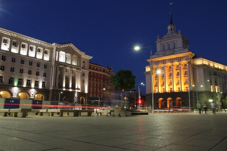 Night view in Sofia, Bulgaria. Government buildings.