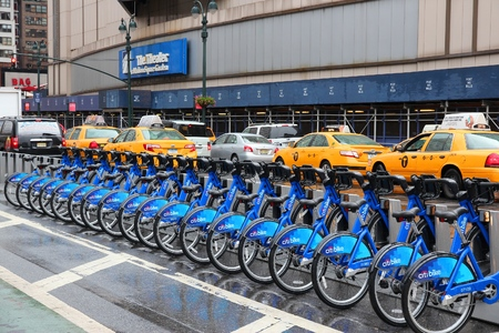 NEW YORK, USA - JULY 1, 2013: Citibike bicycle sharing station in New York. With 330 stations and 6,000 bicycles it is one of top 10 bike sharing systems in the world.