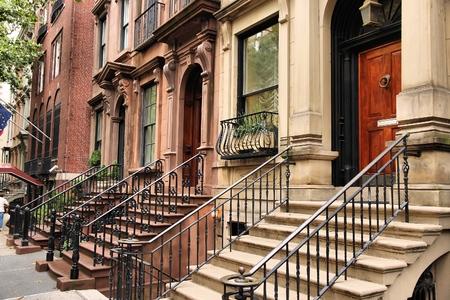 brownstone: New York brownstone townhouses in Turtle Bay neighborhood in Midtown Manhattan. Stock Photo