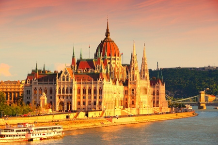 governmental: Budapest sunset view with Parliament of Hungary.