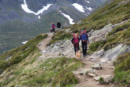 jotunheimen national park: JOTUNHEIMEN, NORWAY - AUGUST 1, 2015: People hike the Besseggen trail in Jotunheimen National Park, Norway. Norway had almost 5 million foreign visitors in 2011.