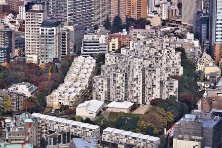 megacity: Roppongi district in Tokyo, Japan - aerial view cityscape.