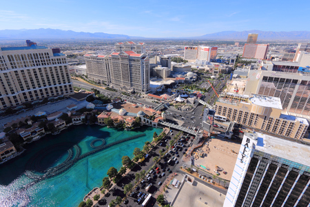LAS VEGAS, USA - APRIL 14, 2014: Aerial view of The Strip in Las Vegas. Among 25 largest hotels in the world, 15 are located on Las Vegas Strip. Editorial