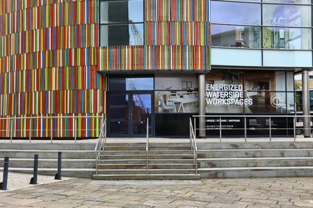 LEEDS, UK - JULY 11, 2016: Modern architecture of Leeds Dock mixed developement area in Leeds, UK. The area is owned by Allied London property company. Editorial