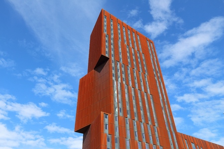 LEEDS, UK - JULY 12, 2016: Broadcasting Tower university skyscraper in Leeds, UK. It belongs to Leeds Beckett University, housing its Faculty of Arts, Environment and Technology.