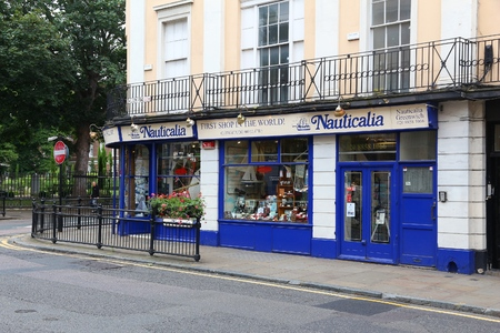 furnishings: LONDON, UK - JULY 8, 2016: Nauticalia store in Greenwich, London, UK. The shop claims to be located nearest to the Prime Meridian.