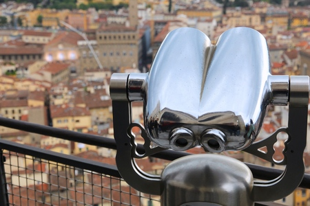 overlook: Florence, Italy - tourist binoculars at a scenic overlook.