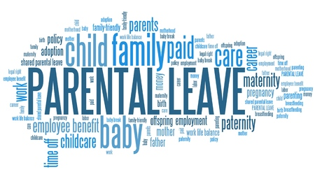 Parental leave - baby care employment benefit word cloud.