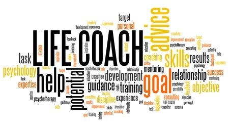 Life coach - personal development training word cloud. Stock Photo