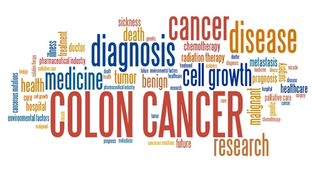 rectal: Colon cancer word collage concept. Serious illness treatment.