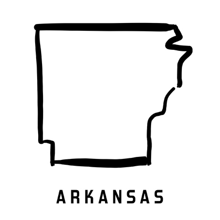 Arkansas state map outline - smooth simplified US state shape map vector.