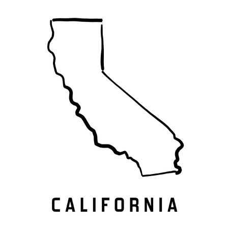 California state map outline - smooth simplified US state shape map vector.