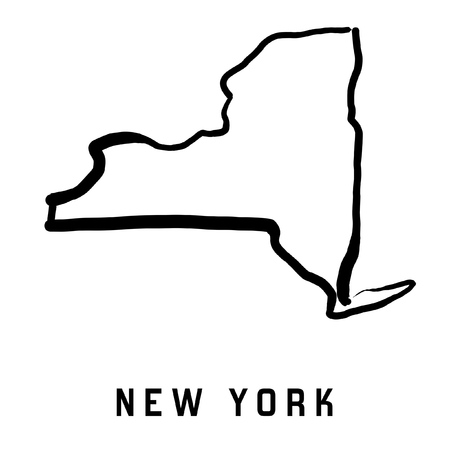 New York state map outline - smooth simplified US state shape map vector.