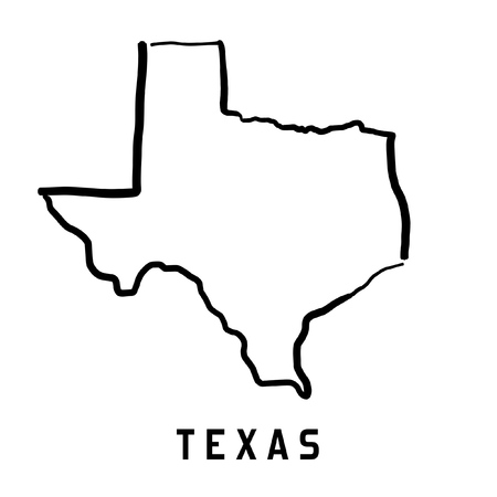 Texas map outline - smooth simplified US state shape map vector. 矢量图像