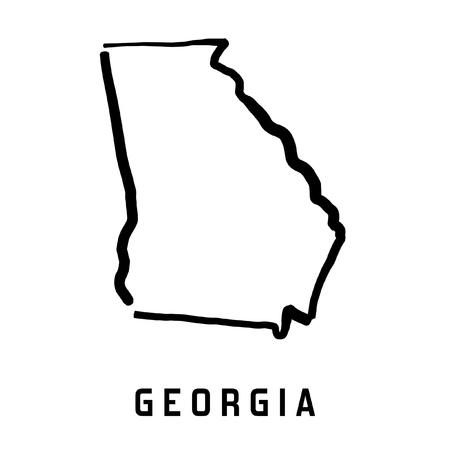 Gruzja mapę stanu - gładki uproszczony stan USA kształt mapy wektorowych. Ilustracje wektorowe