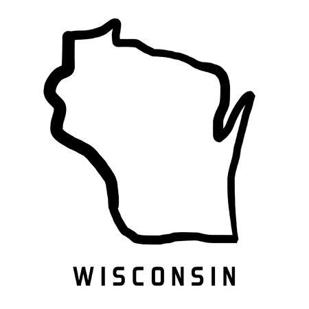 Wisconsin map outline - smooth simplified US state shape map vector. Stock Illustratie