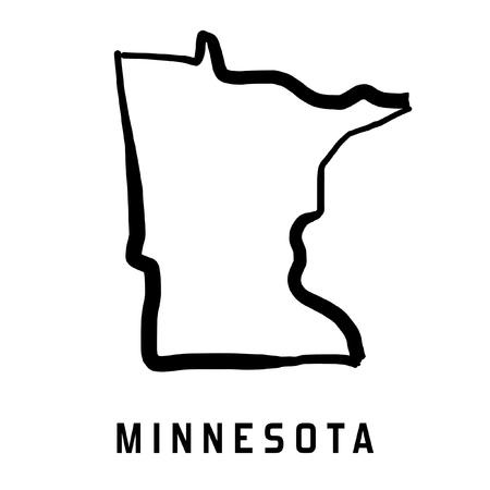 ミネソタ州マップ概要 - 滑らかな米国の状態図形地図ベクトルを簡素化。  イラスト・ベクター素材