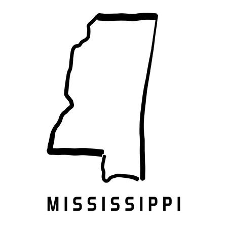 Mapa del estado de Mississippi contorno - suave simplificado Estados Unidos mapa vector forma.