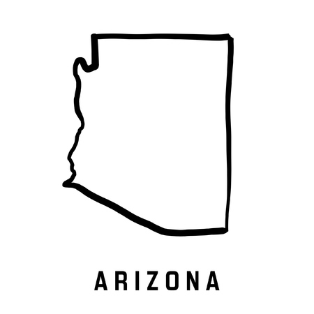Arizona state map outline - smooth simplified US state shape map vector.