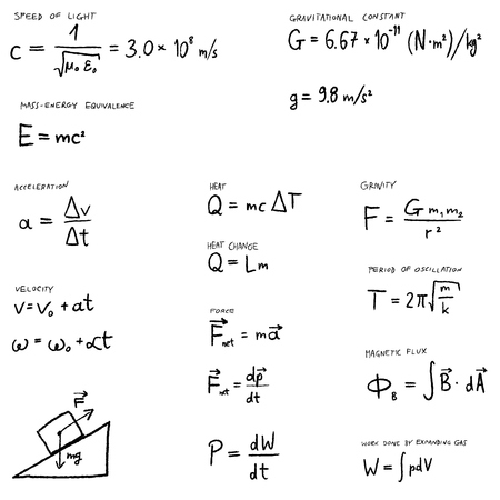Physics lesson -  hand written law of physics equations set. Science vector illustration.