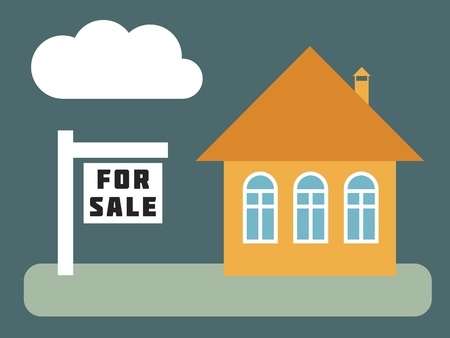 House for sale - simple vector real estate illustration.
