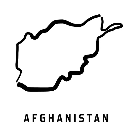 Afghanistan simple map outline - smooth simplified country shape map vector. Illustration