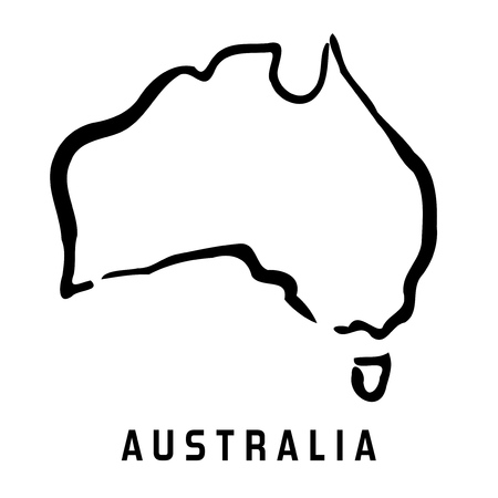 オーストラリアの簡易マップ概要 - 滑らかな簡略化された大陸図形地図ベクトル。